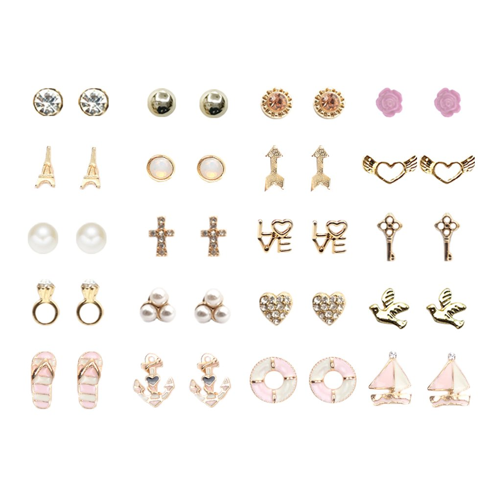 36 Pairs Variety Assorted Stud Earrings Set, Gift Package (20 Gold Tone)