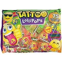 Emoji Emojicon Assorted Flavor Tattoo Lollipops, 75 Count Bag
