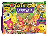 Emoji Emojicon Assorted Flavor Tattoo Lollipops, 75 Count Bag