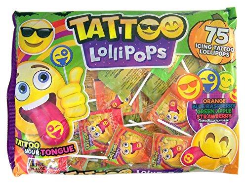 Emoji Emojicon Assorted Flavor Tattoo Lollipops, 75 Count