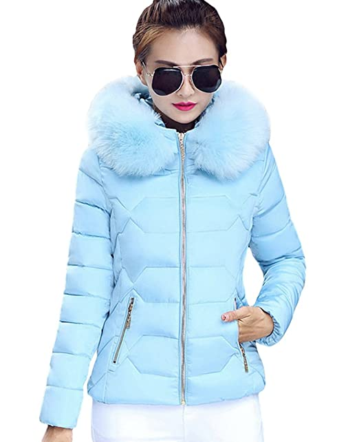 Yiiquan Donna Giubbino con Cappuccio di Pelliccia Faux Cerniera Imbottito  Invernale Calda Giacca Cappotto Azzurro(