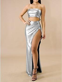 hibote er Ropa Conjunto Faldas Top Sexy Bandeau High Split Falda ...