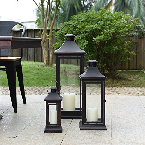 "Danya B. 29"" Set of 3 Nesting Lantern Set - Brown with Copper Patina"