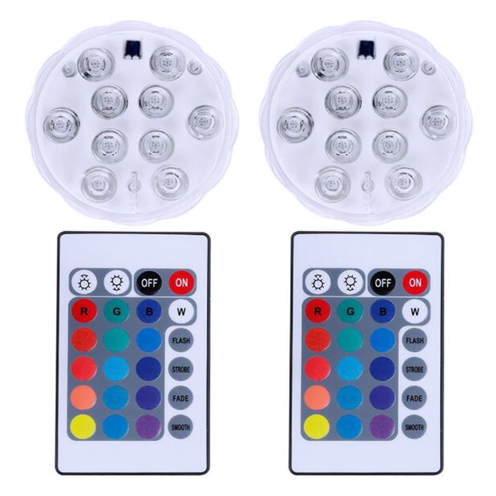 LED Lights Submersible Pond Lights, Cuitan 2pcs RGB Underwater Light Lamp for Aquarium/Fountains/Vases/Pool/Fish Tank/Wedding/Party/Halloween/Christmas Decoration, Remote Control, Battery Powered