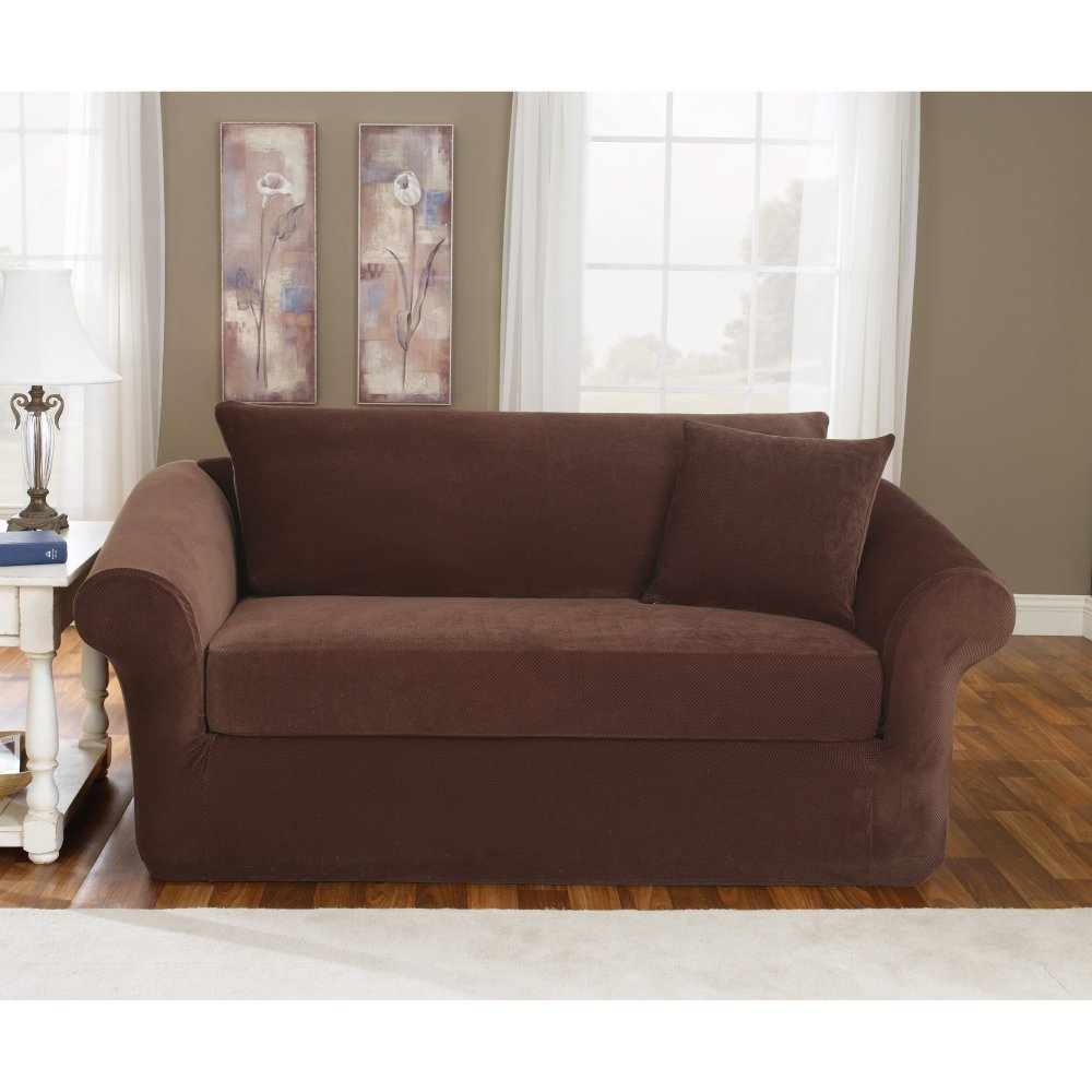 Sure Fit Stretch Pique 3-Piece  - Loveseat Slipcover  - Taupe (SF36144)