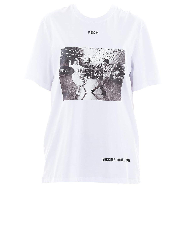 Msgm Women's 2543MDM7018471201 White Cotton TShirt