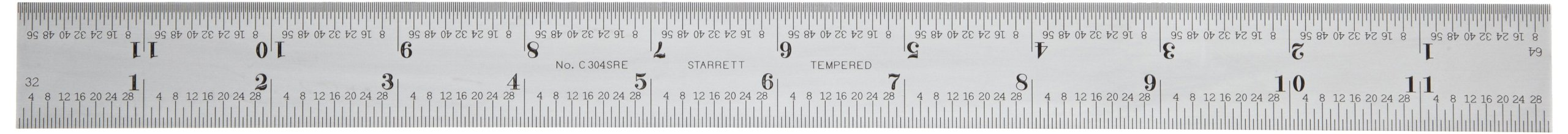 Starrett C304SRE-12 Semi Flexible Steel Rule With Inch Graduations, 4R Style Graduations, 12'' Length, 1'' Width, 1/40'' Thickness