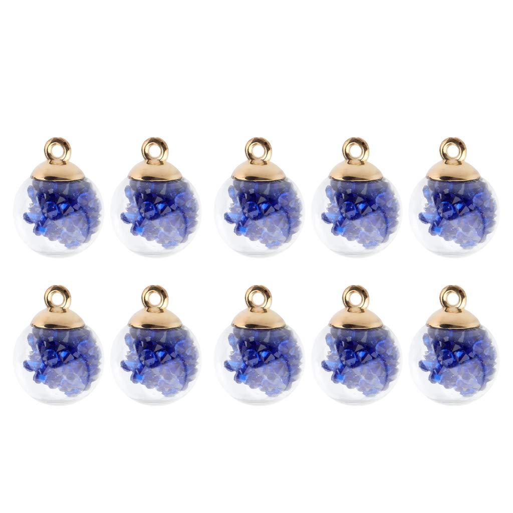 Baoblaze 10pcs Colgantes Encantos Botella de Bola de Vidrio con Rhinestone Adentro - Azul Oscuro: Amazon.es: Joyería