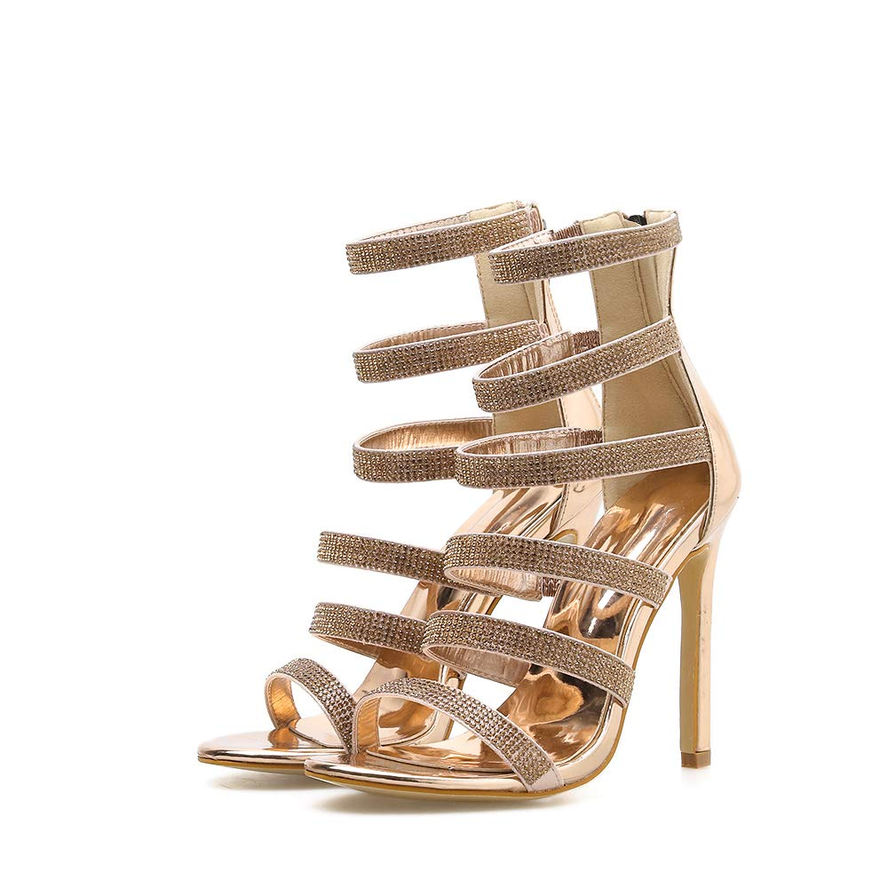 azmodo Woman Open Toe High Stiletto Heel Heels Dress Gladiator Back Zip Sandals Gold Color 813-48