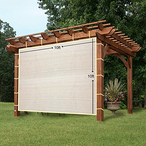 Pergola Wall Panels - EZ2hang Sun Shade Privacy Panel 3 Sides with Ready-to-tie Ribbon ,Side Shade Wall for Pergola, Porch, Carport, Instant Canopy or Gazebo 10x10ft Wheat