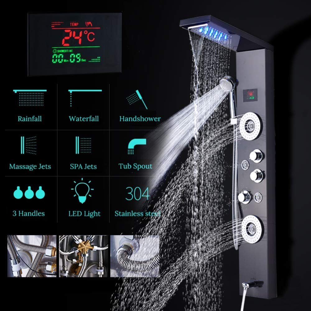 JackeyLove Luxe Noir bross/é Salle de Douche Robinet LED Panneau de Douche Colonne Baignoire M/élangeur Robinet avec Douche /à la Main /écran de temp/érature
