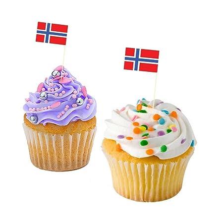 Cupcake Decorations Cupcake Toppers Norway Flag NORWEGIAN CUPCAKE FLAG