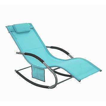 SoBuy OGS28-HB Fauteuil à bascule Chaise longue Transat de jardin ...