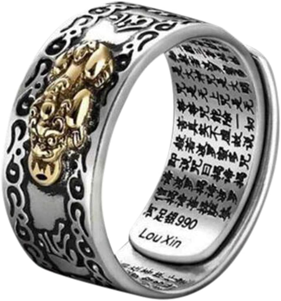 Haluoo Unisex Personalized Embossed Pixiu Band Ring Vintage Titanium Steel Feng Shui Amulet Lucky Wealth Buddhist Wedding Ring Engagement Band Ring Anniversary Ring for Women Men