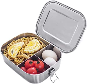 Stainless Steel Bento Box Lunch Containers For Adults Leakproof 3 Compartment Metal Bento Lunch Box Food Container For Kids (1400ml/47oz)