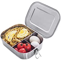 Stainless Steel Bento Box Lunch Containers For Adults Leakproof 3 Compartment Metal Bento Lunch Box Food Container For…