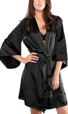 Neu Frauen Babydoll Kleid Spitze Unterwäsche Sexy Satin Schlaf Verschleiß  Nacht Kleid Black 36-38