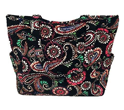 Vera Bradley Pleated Tote Zip Top Bag Bandana ()