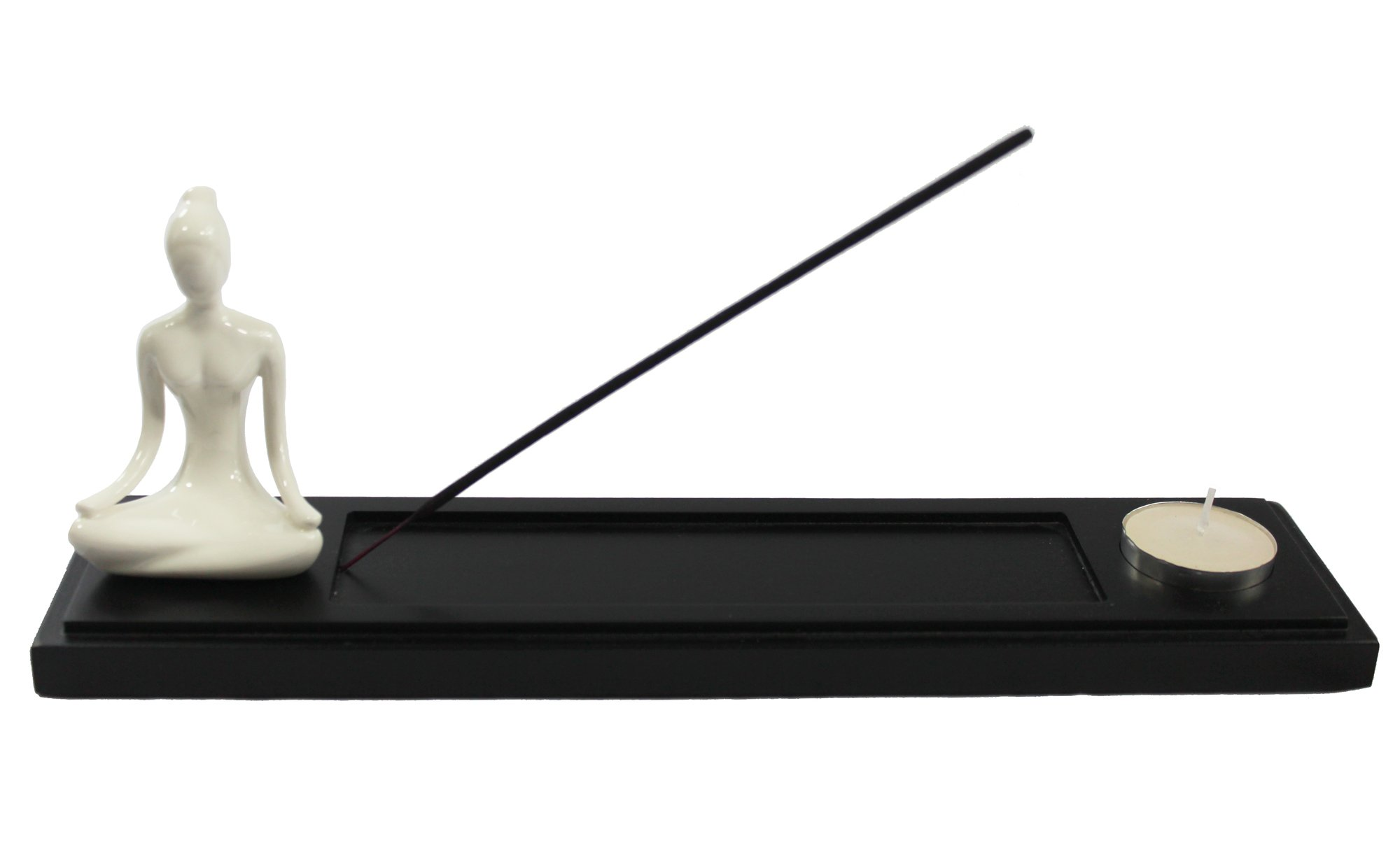 Black Wood Incense Burner Holder Tray with Yoga Lotus Pose Figurine