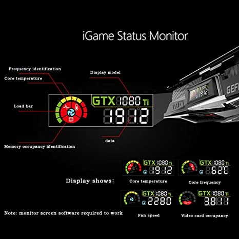 Amazon.com: Colorful IGame GTX1080Ti Vulcan X OC Video Graphics Card,3 Cooling Fan OC Edition Graphics Card,GPU 1620-1733MHz 11G 352bit Gamer Desktop Super ...