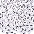 Souarts Mixed Acrylic Plastic Oblate Shape Alphabet Letter Loose Beads 7x7mm Pack of 1000pcs (White)