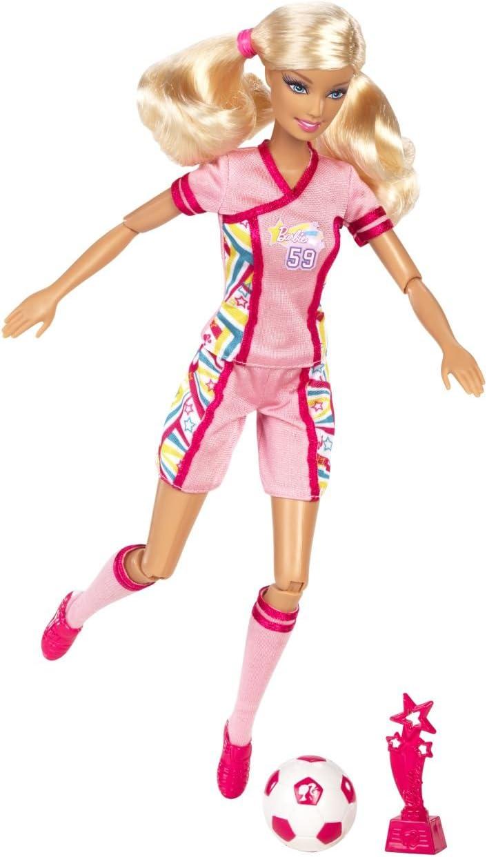DVF69 chaussures /à crampons et avec ballon de football jouet pour enfant Barbie Made to Move poup/ée articul/ée joueuse de foot blonde en maillot