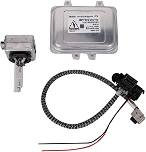5DV 009 000-00 Xenon Hid Headlight Ballast Control Unit with Igniter and D1S Bulb Replacement for 2007-2014 Cadillac Escalade & 2006-2009 BMW E60 & 2008-2014 Ch ry sler Town Country