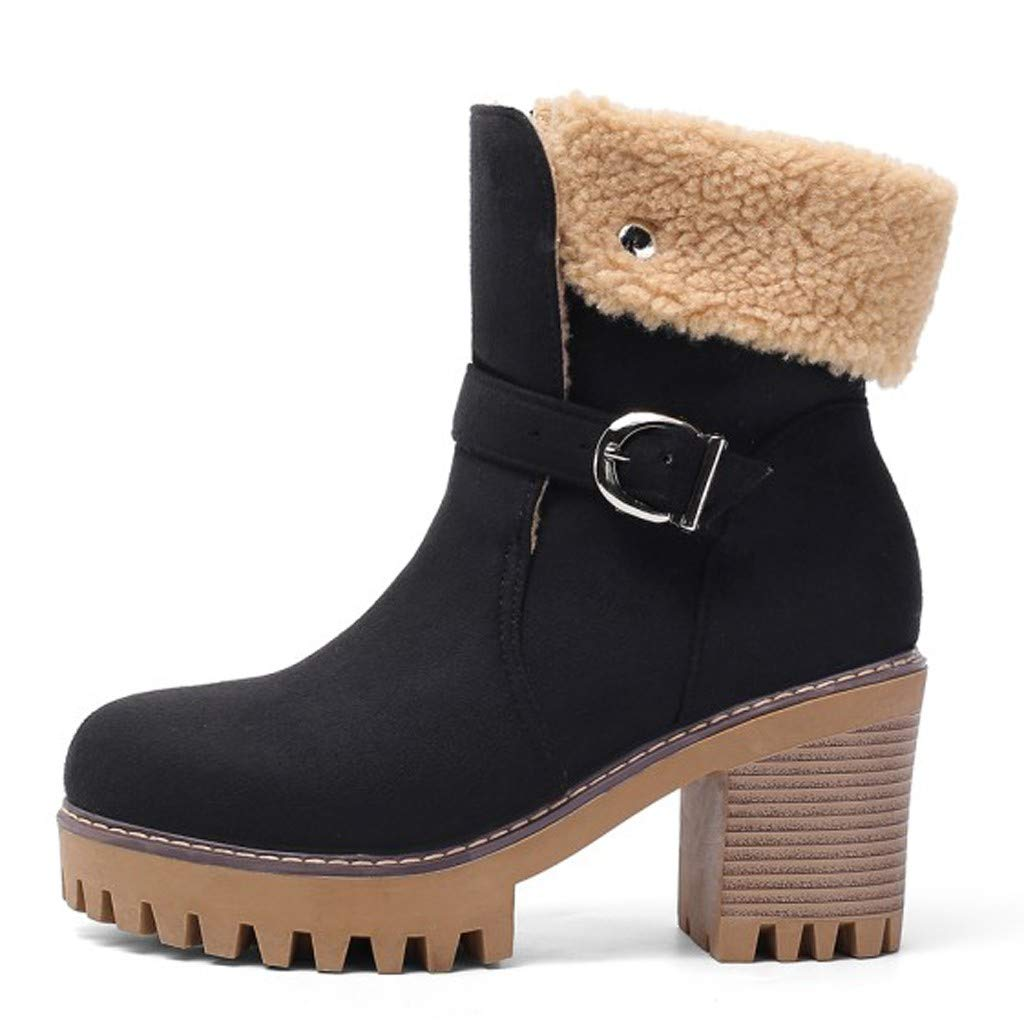 TnaIolral Women Winter Boots,Ladies Warm Square High Heel Buckle Ankle Bare Casual Booties Black by TnaIolral