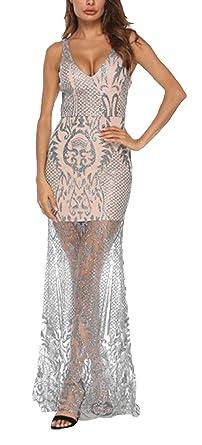 Vestido transparente plateado con bordados.