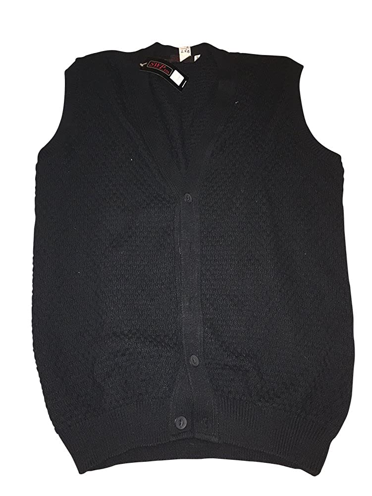 SWP USA Big and Tall Textured Acrylic Cotton Blend Black Sleeveless Cardigan Sweater Vests USA Made