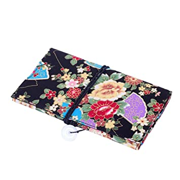 fba49abb4bea Floral Print Makeup Brush Roll Up Cosmetic Pouch Holder with Belt Strap  Portable Make-up