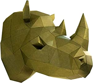 TANOKAY DIY Papercraft 3D Wall Rhino Head Trophy, Pre-Cut Wall Paper Art Puzzle Decor Animal Sculpture Origami Assembly Kit NO Scissors Needed