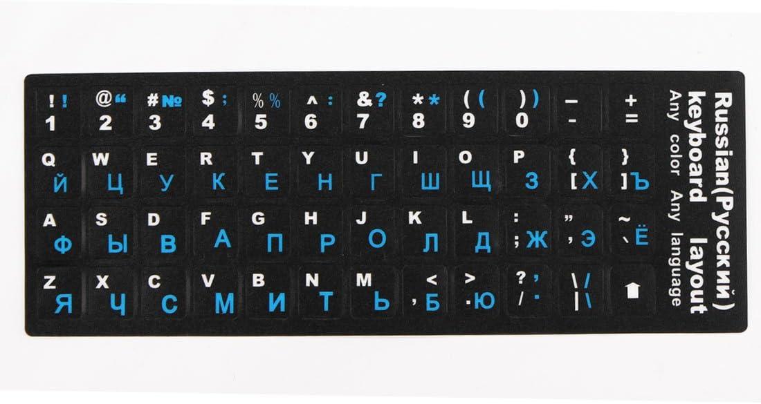 sourcing map Computadora portátil de Escritorio Teclado Ruso Protector de calcomanías Letras Grandes Etiqueta Azul