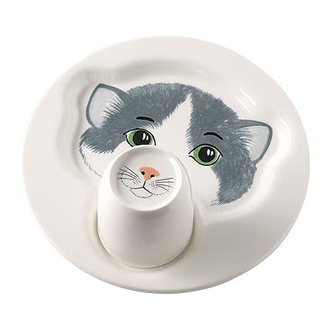 Villeroy & Boch Animal Friends Juego de Mesa Infantil con Motivos de Gato, 2 Piezas