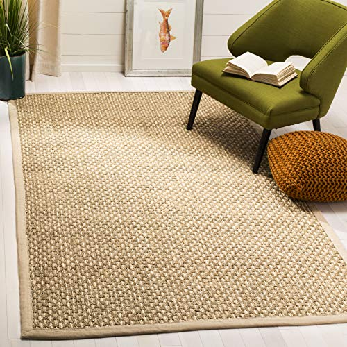 (Safavieh NF118A-3 Natural Fiber Collection Abstract Area Rug, 3' x 5', Beige Seagrass )