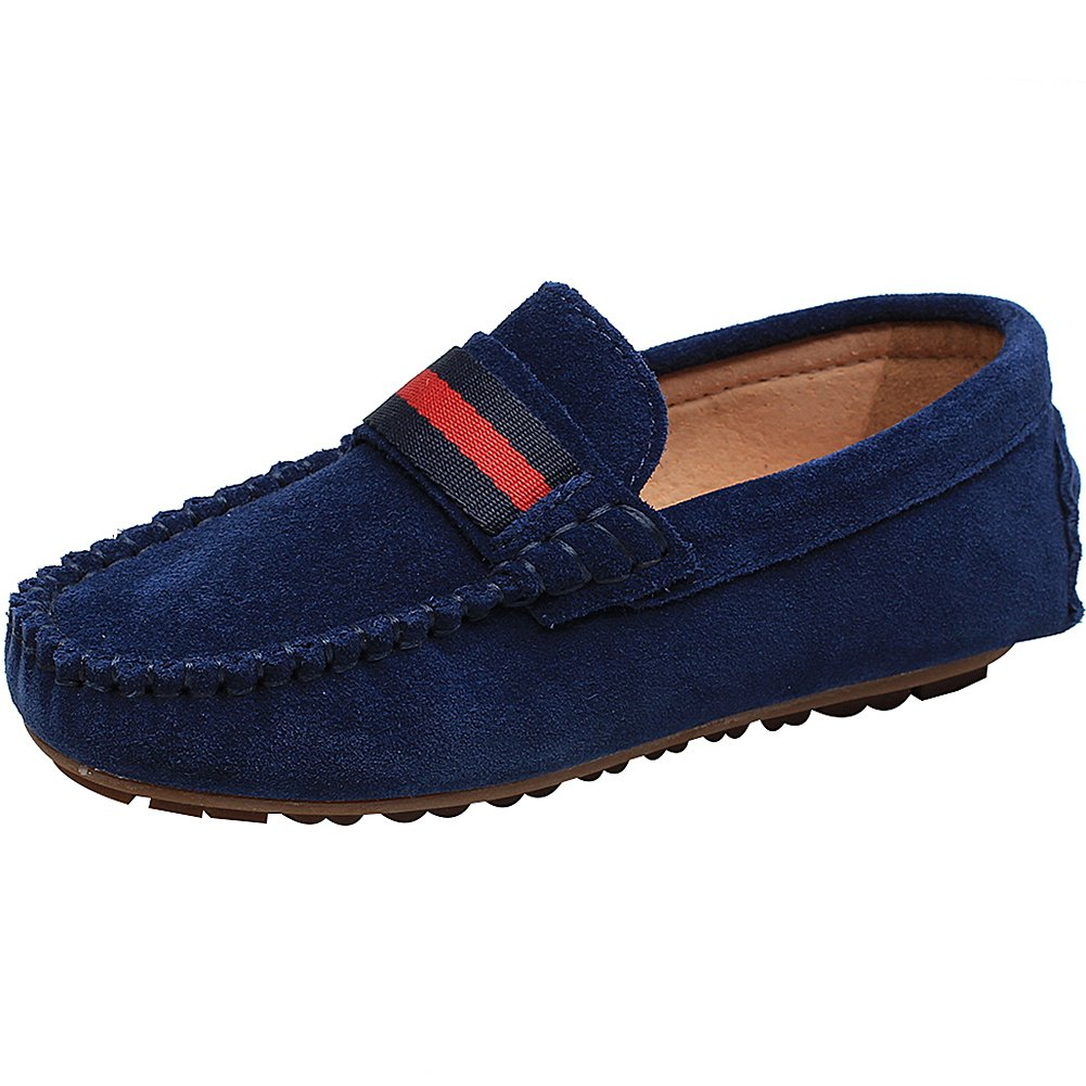 rismart Girls' Pretty Slip-On Suede Leather Loafers Shoes/Flats s29933(Navy Blue,4 M US Big Kid)