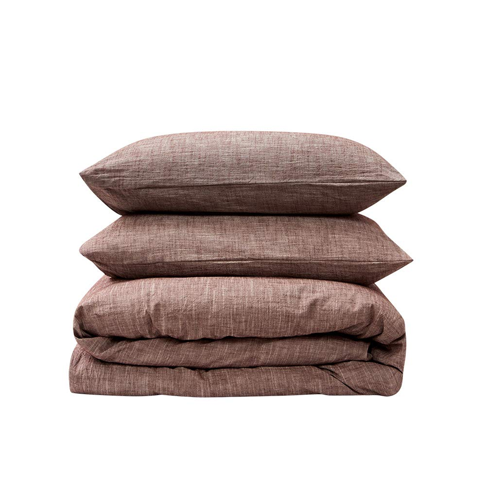 BFS HOME Stonewashed Cotton/Linen Duvet Cover Queen, 3-Piece Comforter Cover Set, Breathable and Skin-Friendly Bedding Set (Chocolate, Queen)