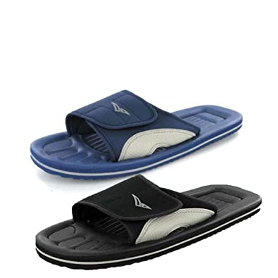 96f24f69e Men s PDQ Velcro Beach Flip Flops Shower Mules Garden Slip ONS Sandals UK  6-12 Black  Amazon.co.uk  Shoes   Bags