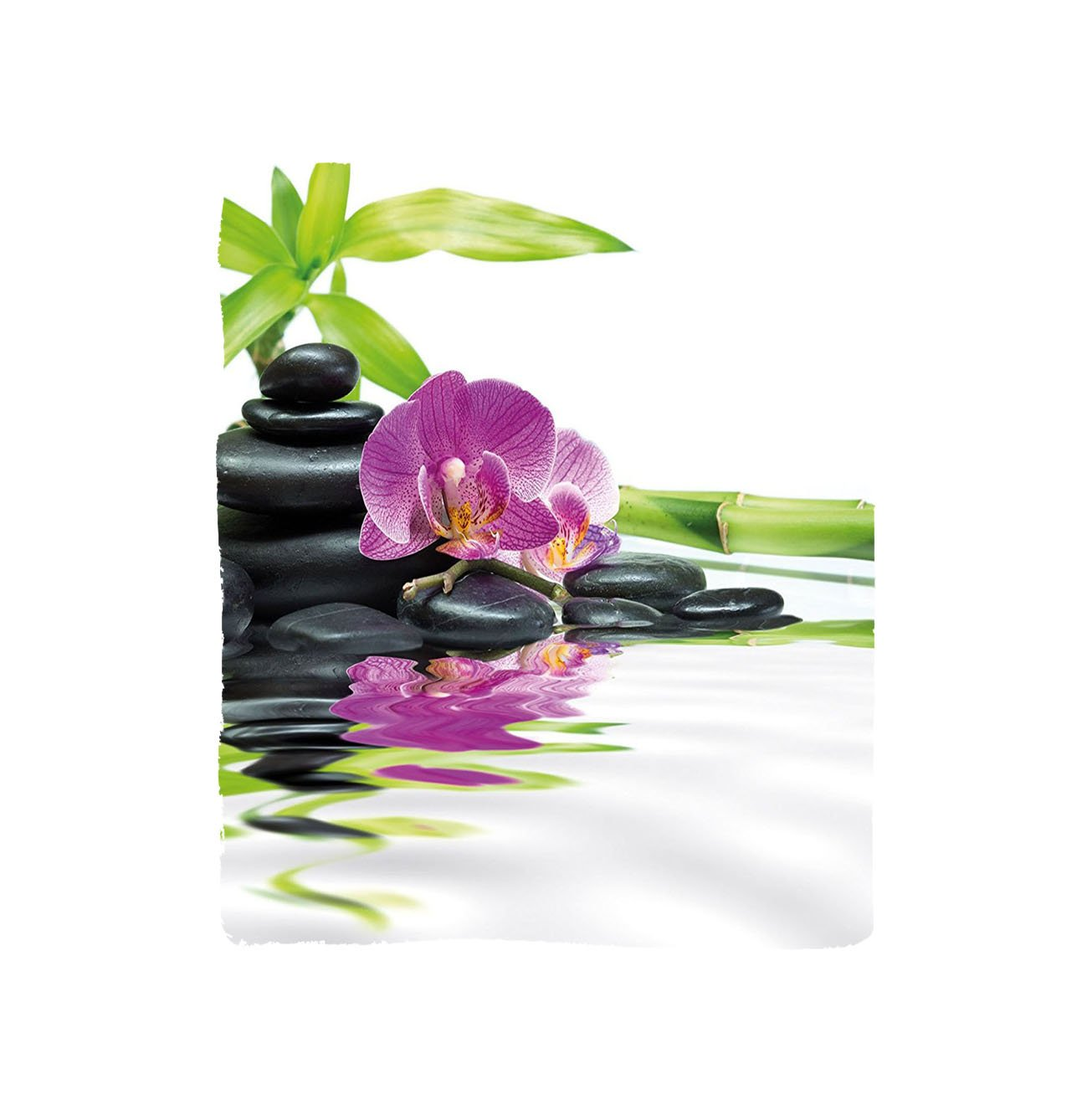 VROSELV Custom Blanket Spa Asian Relaxation with Zen Massage Stones Purple Orchid and a Bamboo Bedroom Living Room Dorm Purple Black and Green