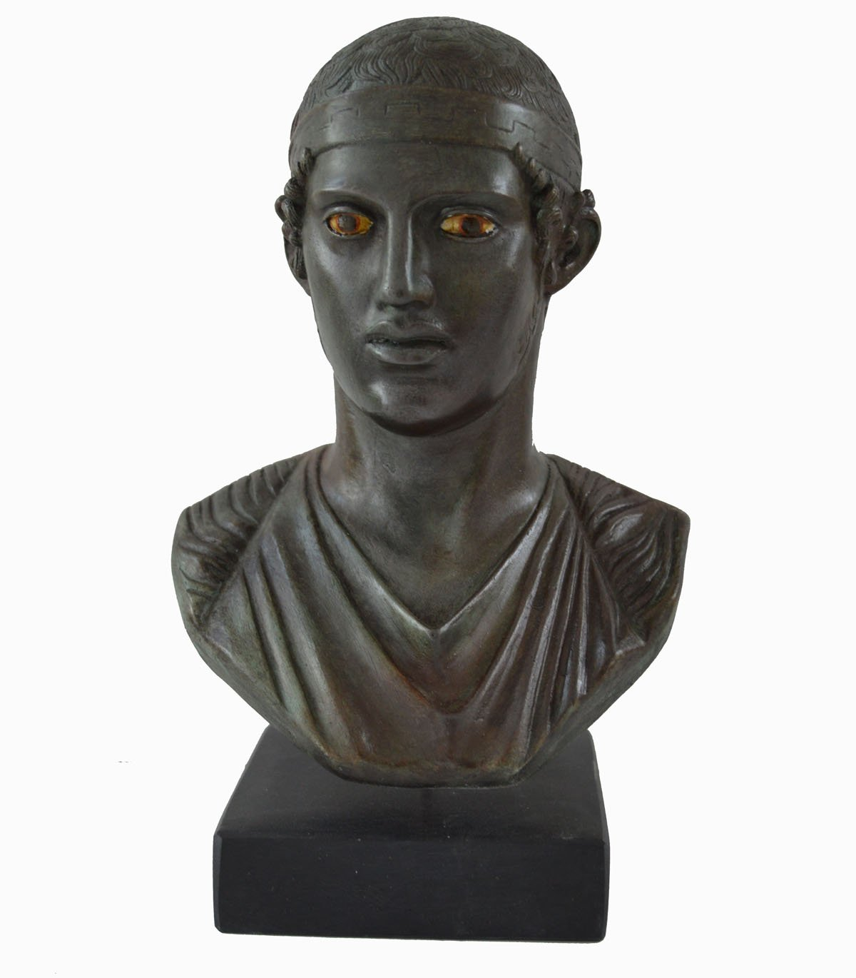 Charioteer of Delphi Bust with Bronze Color Effect - Museum replica