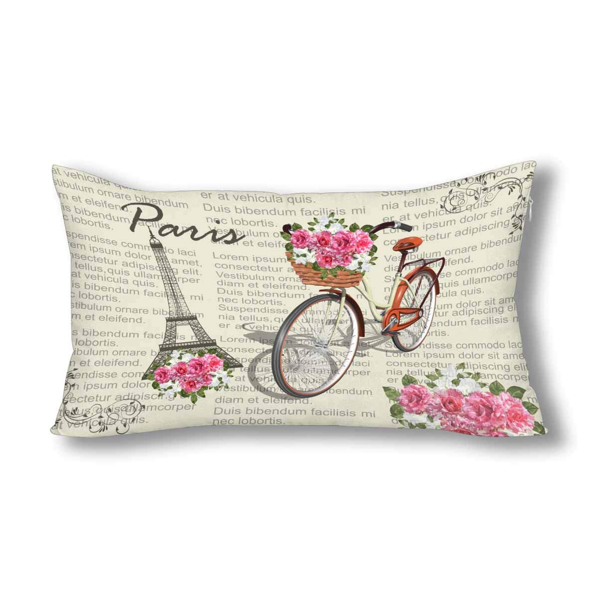 Qu/_ Bicycle Flower Eiffel Tower Pillow Case Cushion Cover Bed Car Cafe Decor Wid