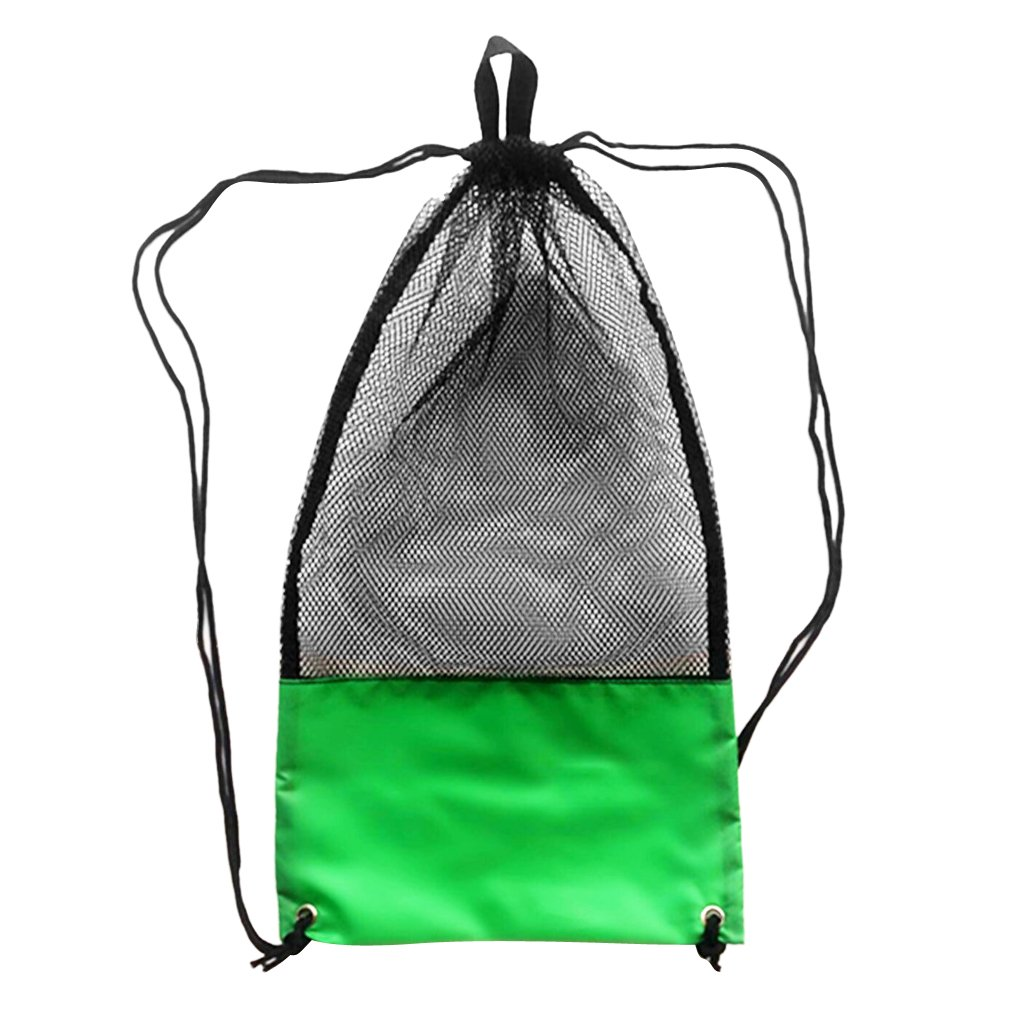 monkeyjackメッシュ巾着バッグショルダーストラップのスキューバダイビングフィンゴーグルマスクシュノーケルBoating Swim Gear B0774N8L9Y グリーン  グリーン