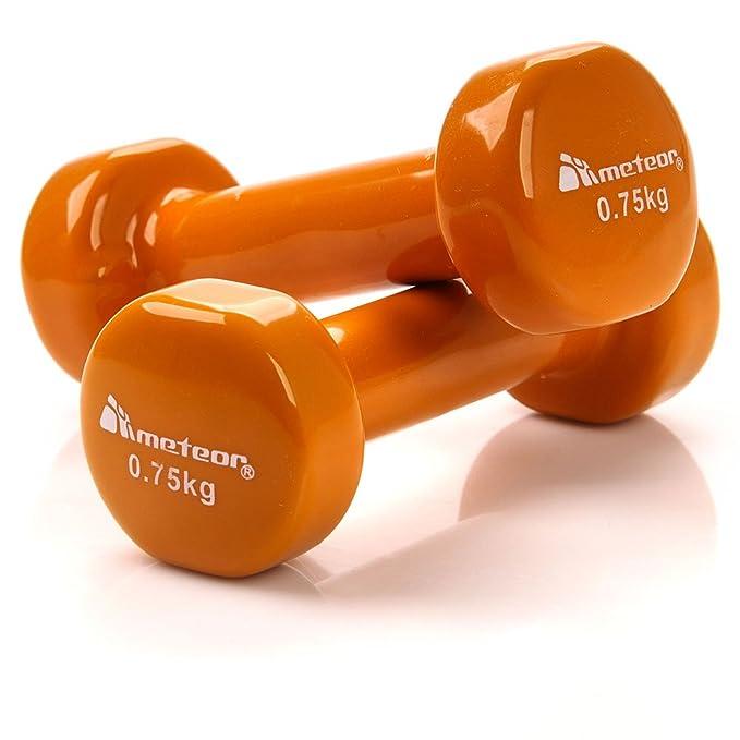 meteor® 2 unidades vinilo mancuernas: mancuernas Set con buen Grip, antideslizante, pesas mancuernas para aerobic, pilates, perfecto para mayores y Futuras ...