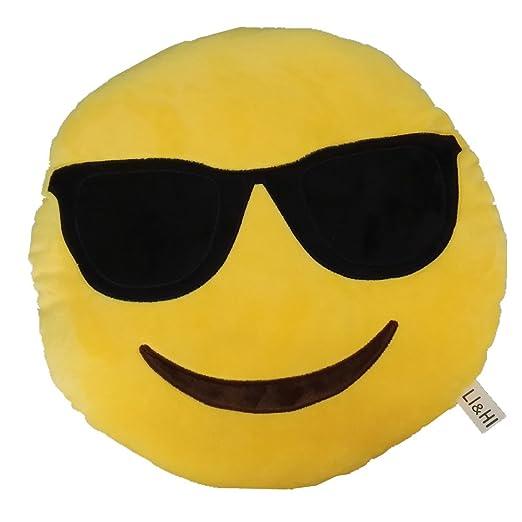 LI&HI - Cojín redondo con forma de emoticono, color amarillo ...