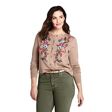 d9df6ddf17b Lands  End Women s Plus Size Supima Cotton Embroidered Cardigan Sweater