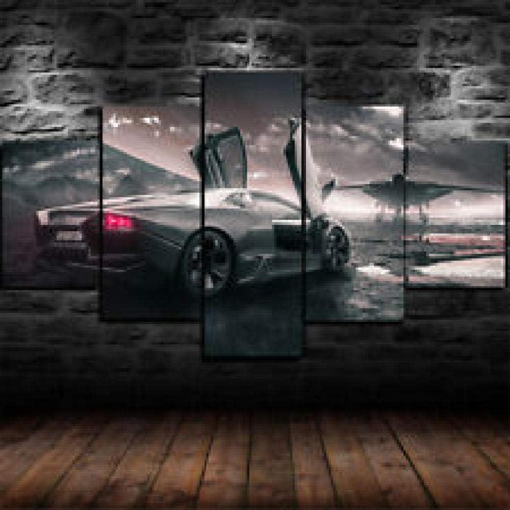 13Tdfc Cuadros Decoracion Salon Modernos 5 Piezas Lienzo Grandes XXL murales Pared hogar Pasillo Decor Arte Pared Abstracto Coche Lamborghini Reventon Jet Enmarcado HD Impresión Foto Innovador Regalo