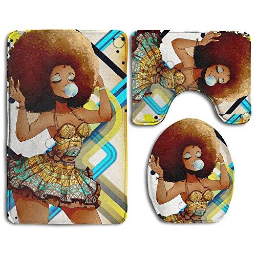 Xush African Black Women 3 Piece Bath Rug Set Non-Slip Bathroom Rug Contour Mat Lid Cover For Bathroom