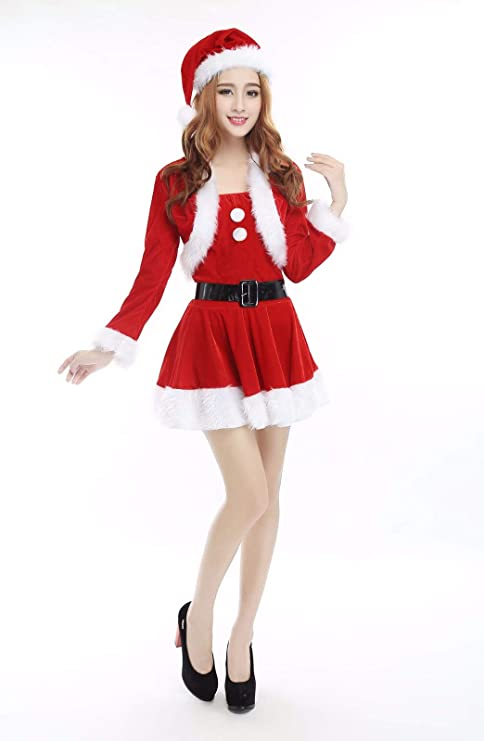 SDLRYF Disfraz De Papá Noel Traje De Navidad Hembra Adulta Disfraz ...