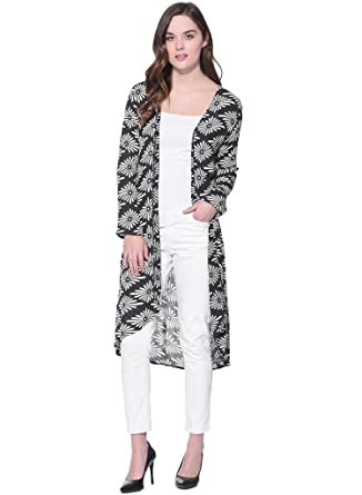 251373774b Purys Printed Black Rayon Long Shrug: Amazon.in: Clothing & Accessories
