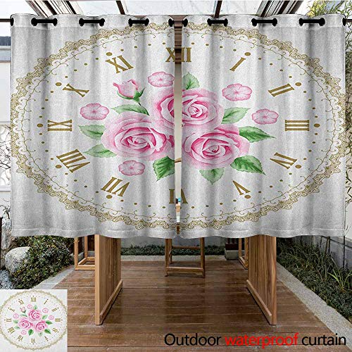 AndyTours Grommet Outdoor Curtains,Shabby Chic,Vintage Clock Face Roses Roman Numbers Antique Vintage Style,Curtains for Living Room,K183C160 Pale Pink Green Dark ()